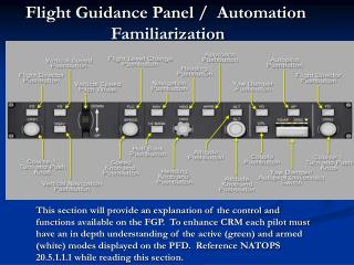 Flight Guidance Panel /   Automation  Familiarization