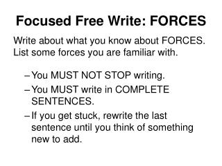 Focused Free Write: FORCES