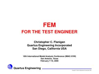 FEM FOR THE TEST ENGINEER