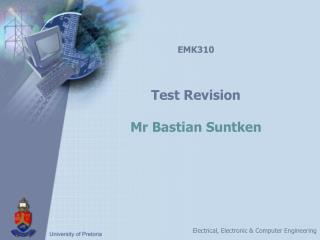 EMK310 Test Revision Mr Bastian Suntken