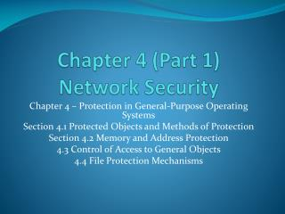 Chapter 4 (Part 1) Network Security
