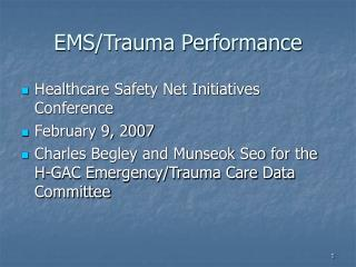 EMS/Trauma Performance