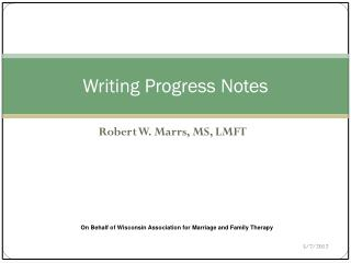 Writing Progress Notes