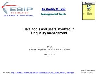 Data, tools and users involved in  air quality management