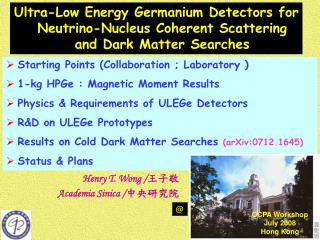 Starting Points (Collaboration ; Laboratory ) 1-kg HPGe : Magnetic Moment Results
