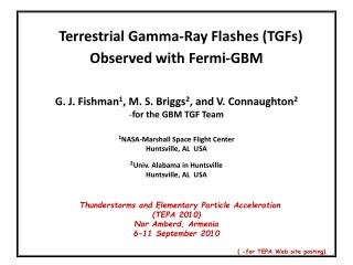 Terrestrial Gamma-Ray Flashes (TGFs)  Observed with Fermi-GBM