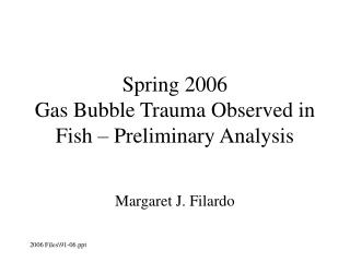 Spring 2006  Gas Bubble Trauma Observed in Fish – Preliminary Analysis
