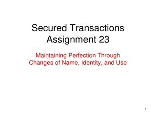 Secured Transactions Assignment 23