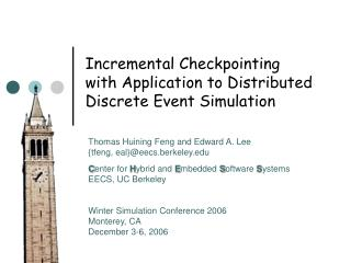 Incremental Checkpointing with Application to Distributed Discrete Event Simulation