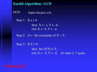 Euclid Algorithm: GCD
