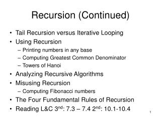 Recursion (Continued)