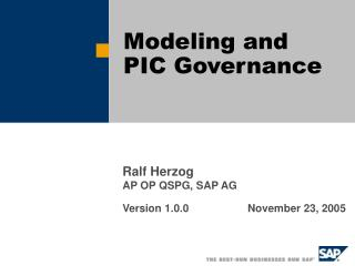 Modeling and PIC Governance