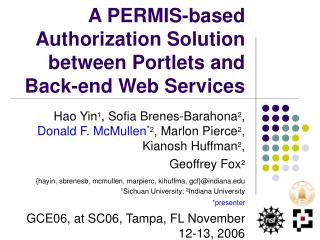 A PERMIS-based Authorization Solution between Portlets and  Back-end Web Services