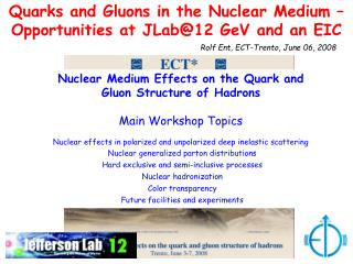 Quarks and Gluons in the Nuclear Medium – Opportunities at JLab@12 GeV and an EIC