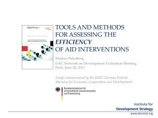 Tools and Methods for Assessing the  Efficiency Of Aid Interventions