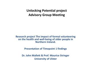 Unlocking Potential project  Advisory Group Meeting