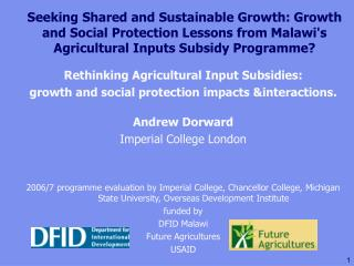 Seeking Shared and Sustainable Growth: Growth and Social Protection Lessons from Malawi's Agricultural Inputs Subsidy Pr