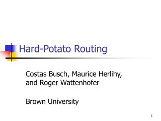Hard-Potato Routing