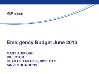 Emergency Budget June 2010
