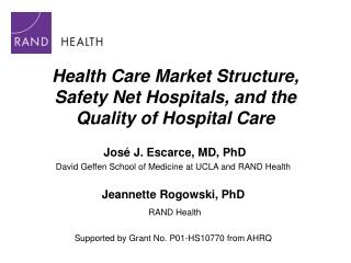 Health Care Market Structure, Safety Net Hospitals, and the Quality of Hospital Care