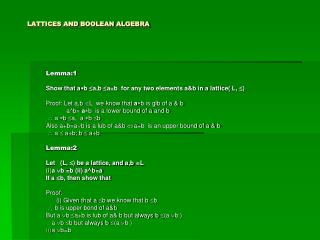 LATTICES AND BOOLEAN ALGEBRA