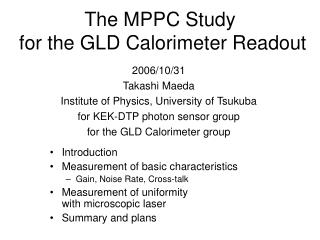 The MPPC Study  for the GLD Calorimeter Readout