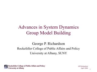 Advances in System Dynamics Group Model Building