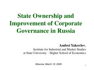 State Ownership and Improvement of Corporate Governance in Russia