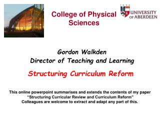 Structuring Curriculum Reform
