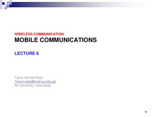Wireless Communication Mobile Communications  Lecture 6