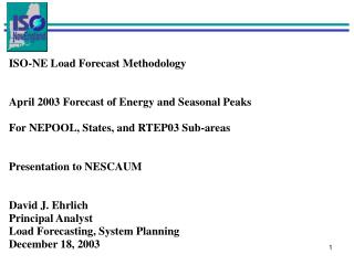 ISO-NE Load Forecast Methodology