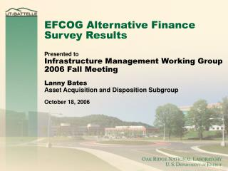 EFCOG Alternative Finance Survey Results