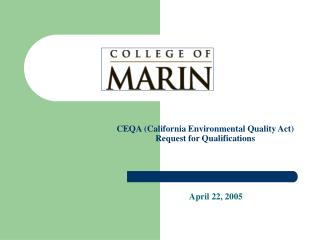 CEQA (California Environmental Quality Act)  Request for Qualifications
