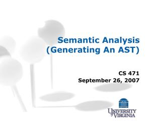 Semantic Analysis (Generating An AST)