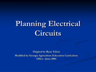 Planning Electrical Circuits