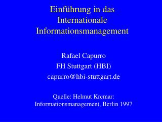 Einführung in das  Internationale Informationsmanagement