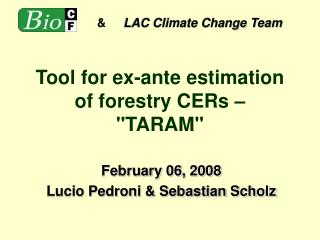"Tool for ex-ante estimation of forestry CERs –  ""TARAM"""