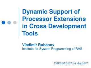 Dynamic Support of Processor Extensions in Cross Development Tools