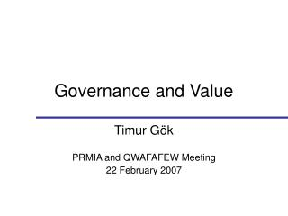 Governance and Value