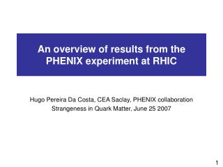 An overview of results from the PHENIX experiment at RHIC