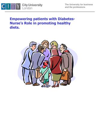 Empowering patients with Diabetes- Nurse's Role in promoting healthy diets.