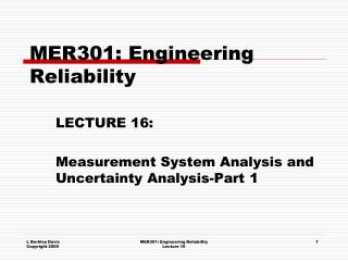 MER301: Engineering Reliability