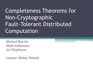 Completeness Theorems for Non-Cryptographic Fault-Tolerant Distributed Computation