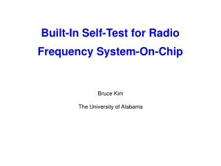 Built-In Self-Test for Radio  Frequency System-On-Chip