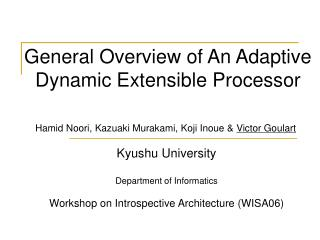 General Overview of A n Adaptive Dynamic Extensible Processor