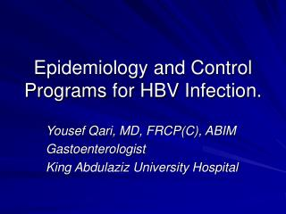 Epidemiology and Control Programs for HBV Infection.