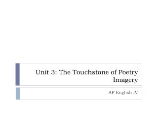 Unit 3: The Touchstone of Poetry Imagery