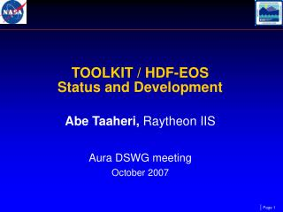 TOOLKIT / HDF-EOS  Status and Development