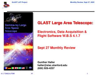 GLAST Large Area Telescope: Electronics, Data Acquisition & Flight Software W.B.S 4.1.7
