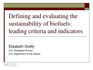 Defining and evaluating the sustainability of biofuels: leading criteria and indicators